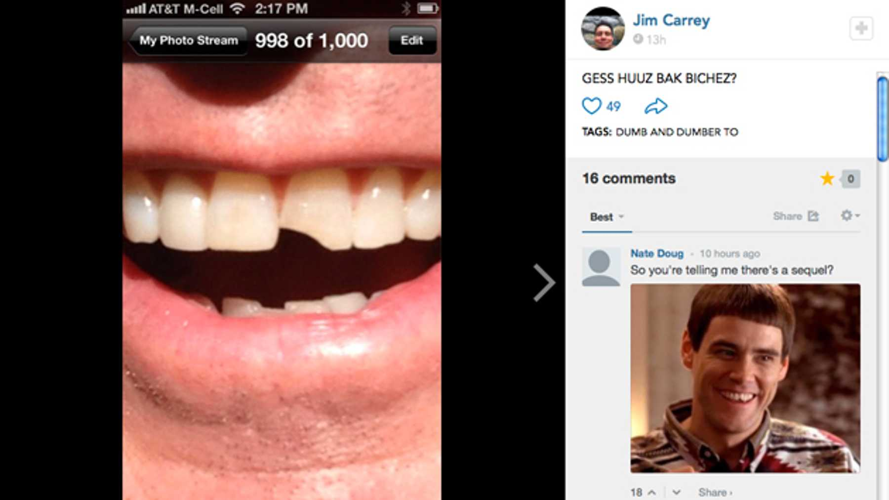 Jim Carrey Tweets Toothy Pic Of Lloyd Christmas For Dumb And