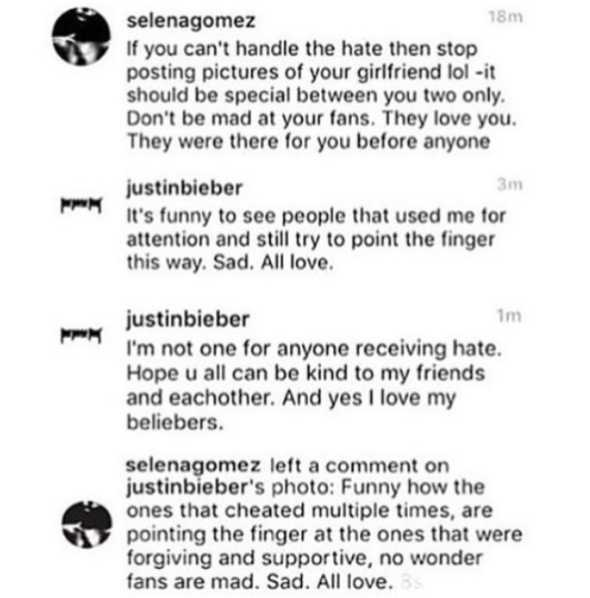 Justin Bieber and Selena Gomez throw cheating accusations