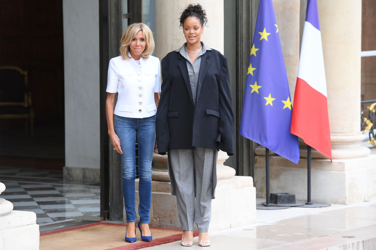 what happened when rihanna and brigitte macron met in