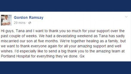 Gordon Ramsay's miscarriage statement