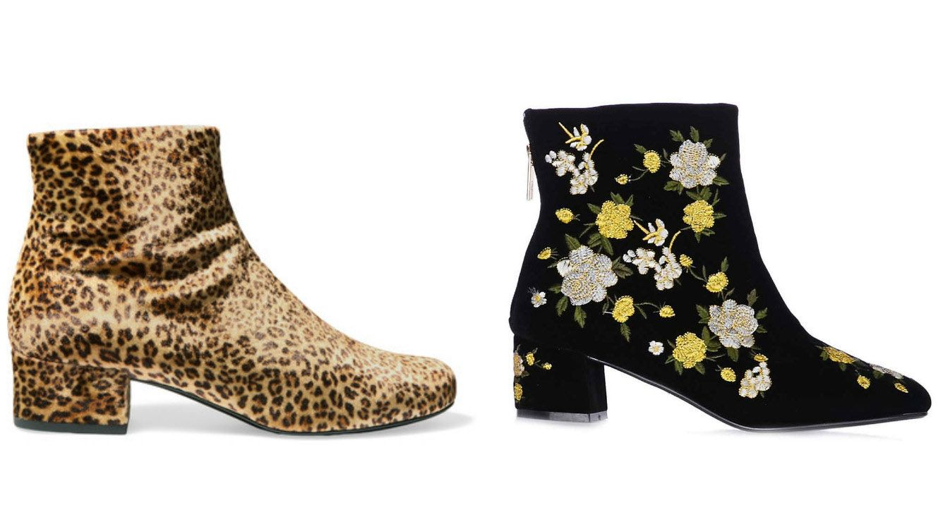 e130974c6d48 Saint Laurent babies leopard-print velvet ankle boots, £297 from  Net-a-porter / Blossom embroidered boots, £42 from Topshop