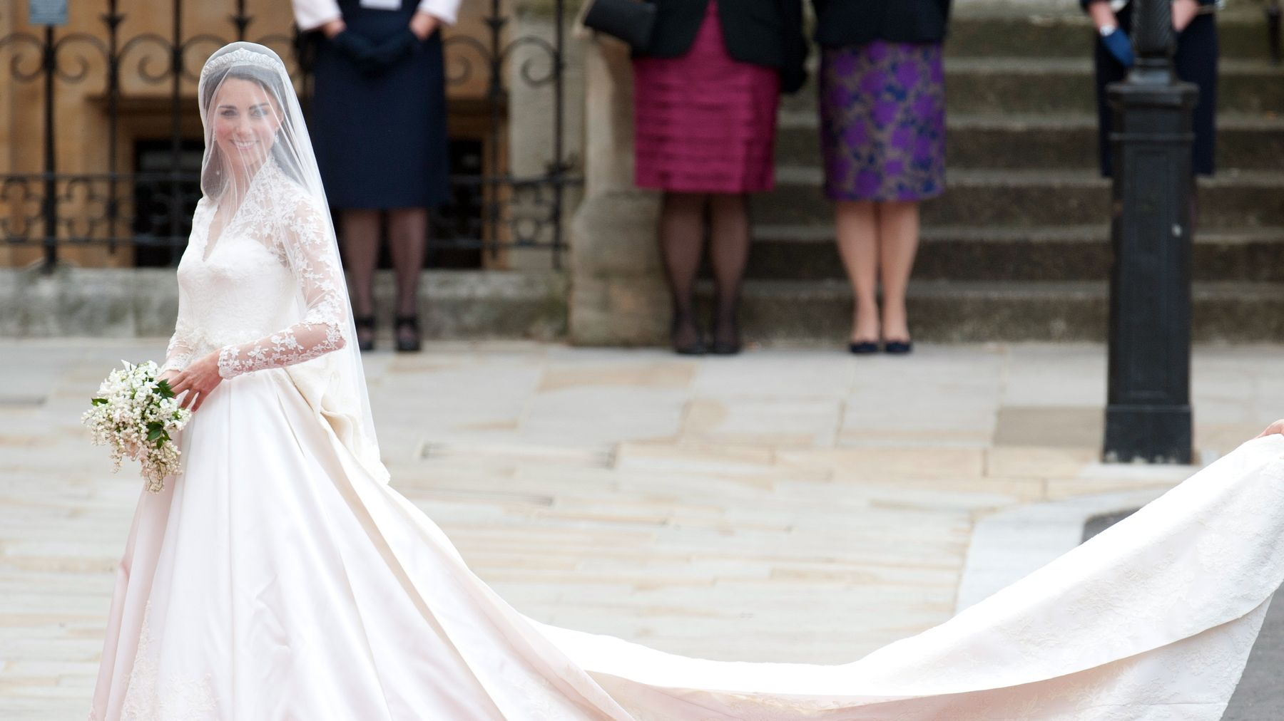 43a1ee5c61dc Kate Middleton wearing Alexander McQueen on her wedding day © Getty Images