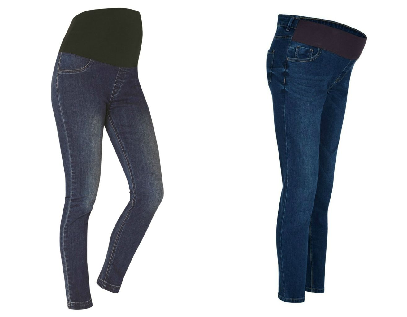 35e52fbcb5c1e From left: JoJo Maman Bébé Skinny Jeans Vintage; New Look Maternity Navy  Under Bump Skinny Jeans © From left: JoJo Maman Bébé Skinny Jeans Vintage;  ...