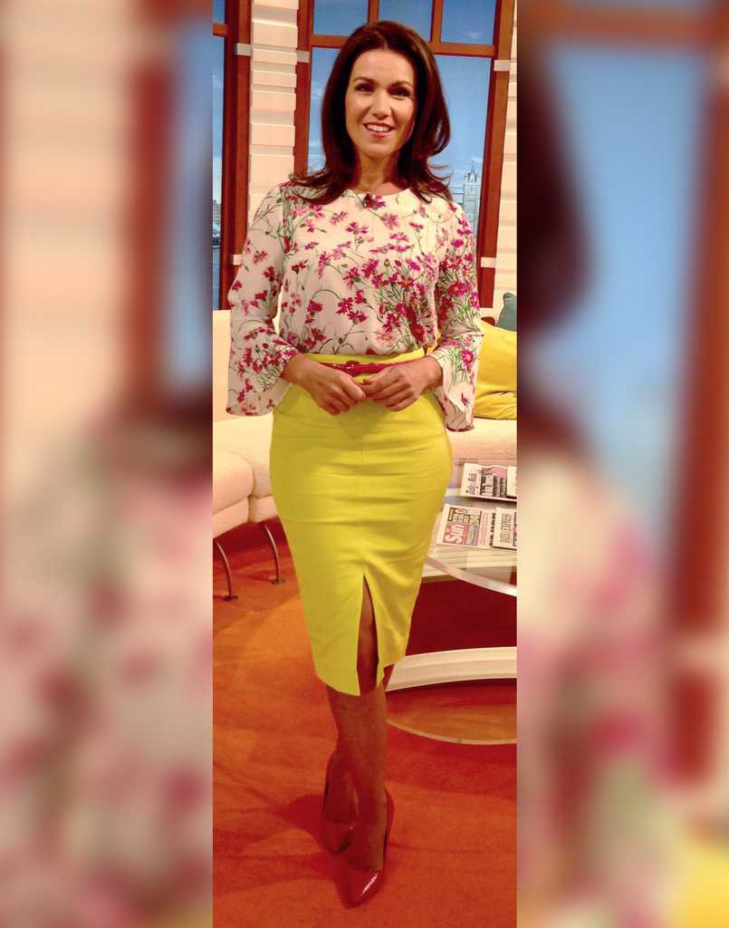 59f4cc9fdc38f Susanna s floral blouse and bright yellow skirt was the perfect pick-me-up  for a grey day (Credit  Twitter  Debbie Dresses) © Twitter  Debbie Dress    ITV  ...