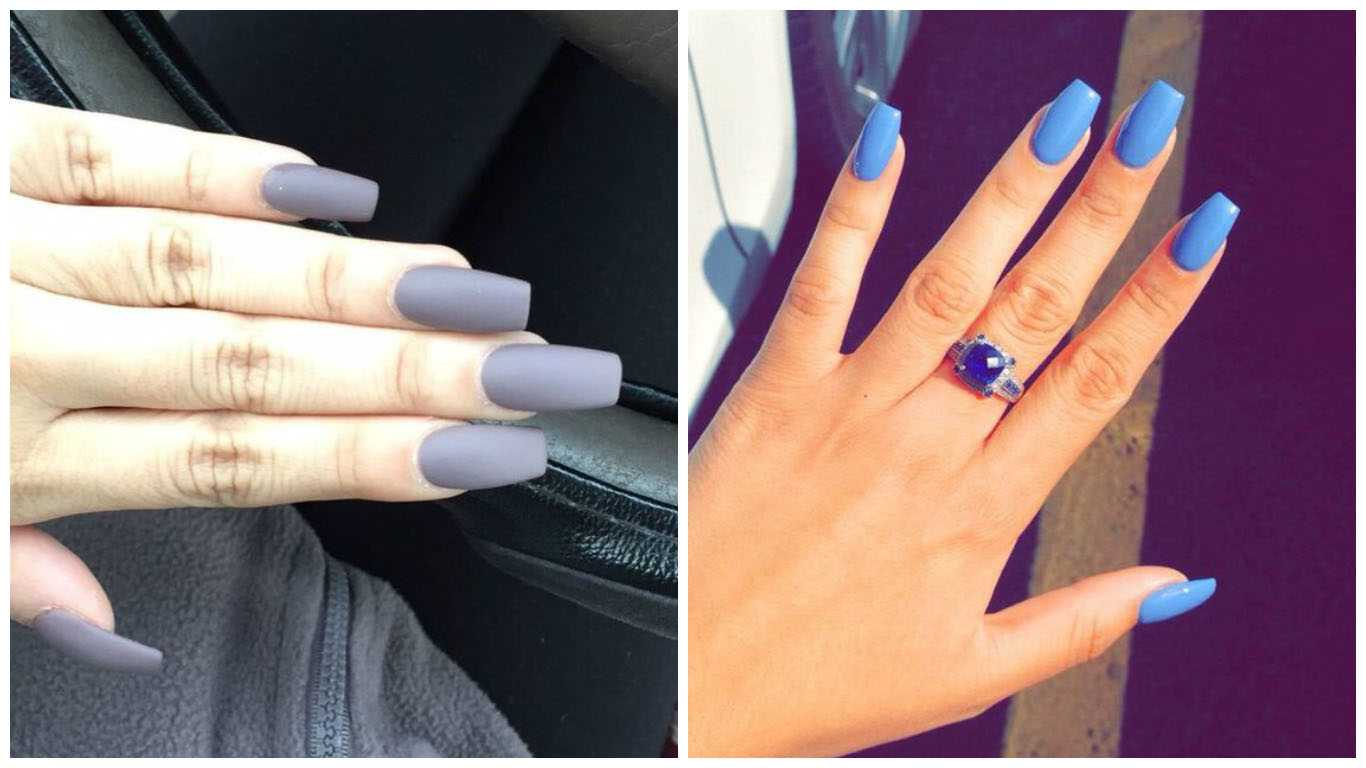 These Long And Slim Shaped Nails Are Squared Off At The Tip Similar To A Coffin Or Ballerina Slipper However Meticulous Salon Maintenance Is Important