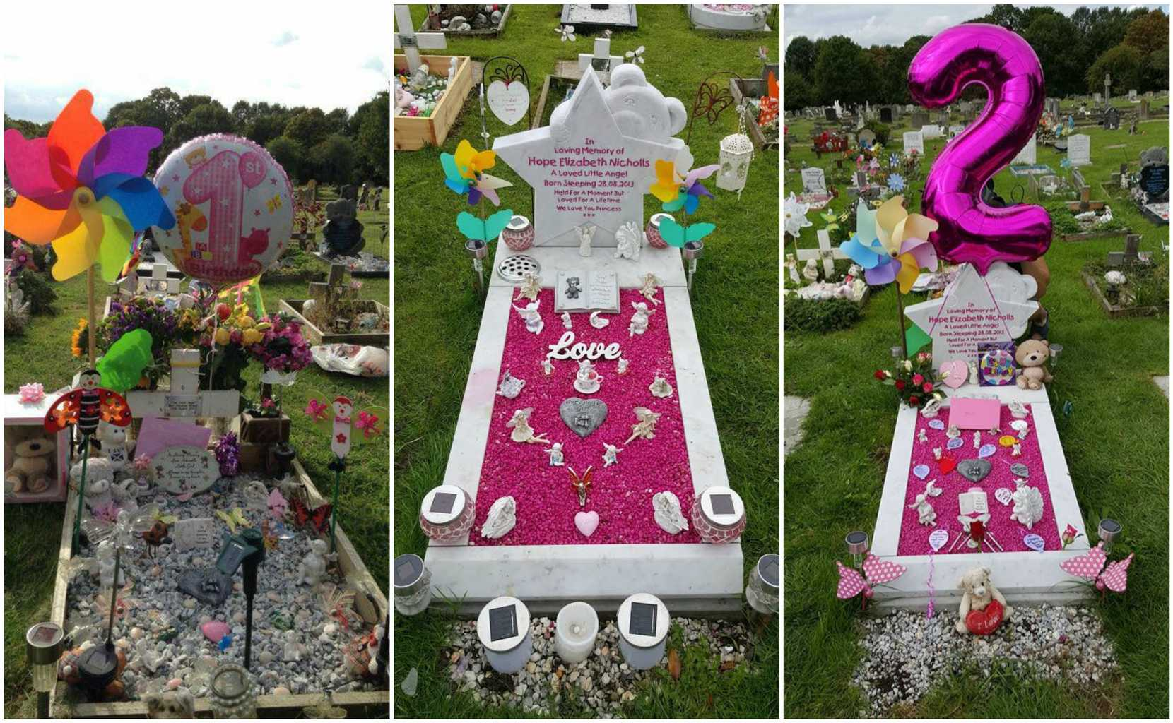 The Decorations On Hopes Grave What Would Have Been Her First And Second Birthdays Credit SWNS C