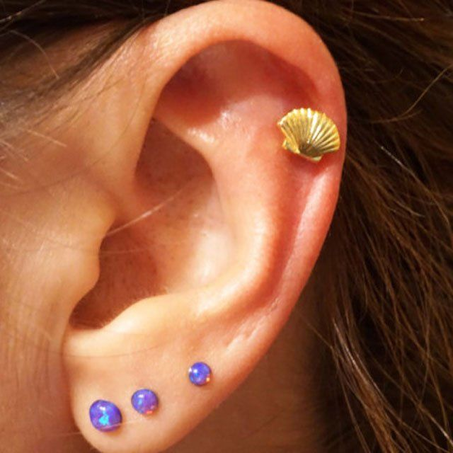 Channel Your Inner Mermaid With This Handmade Gold Seas Helix Earring 6 41 Includes Shipping The 316l Surgical Steel Plated Stud Post Is
