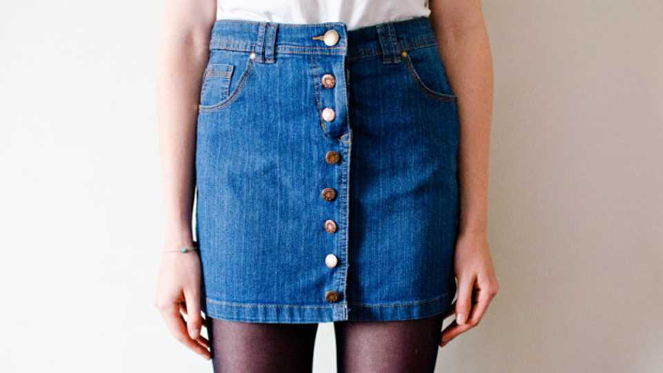ea8606c8cf How To Turn Your Old Denim Skirt Into A Button-Up One