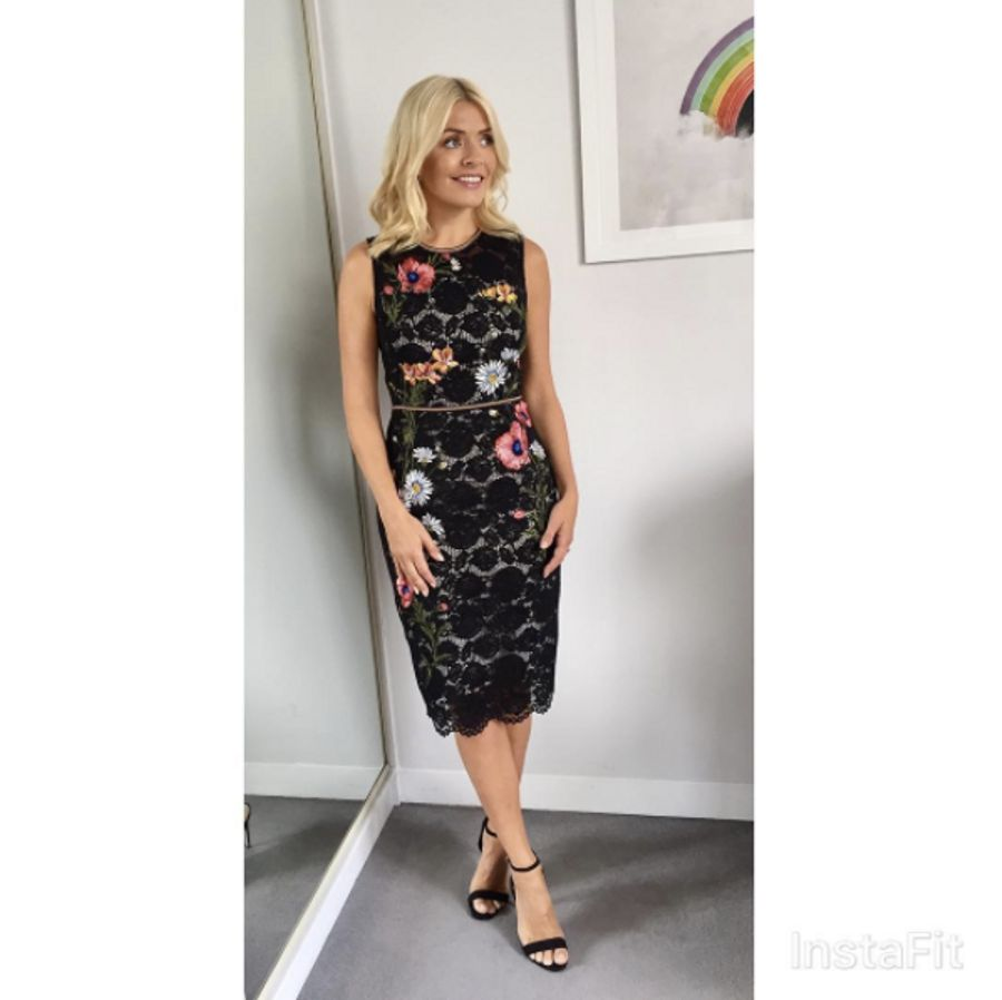 a46c8007b3f80 Lace Embroidered Pencil Dress | Karen Millen. View Gallery25 photos. 9 /  25. Holly Willoughby This Morning ...