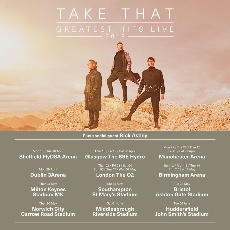 Take That announce dates for their Greatest Hits Live Tour 2019
