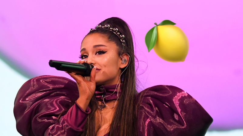 Ariana Grande runs off stage after being hit by a LEMON during Coachella set