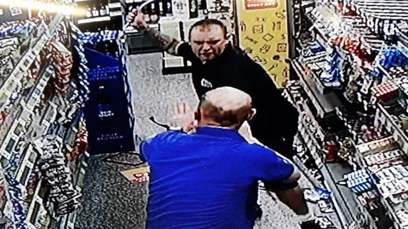 Drunken thug convicted after attacking shop worker with metal pole.