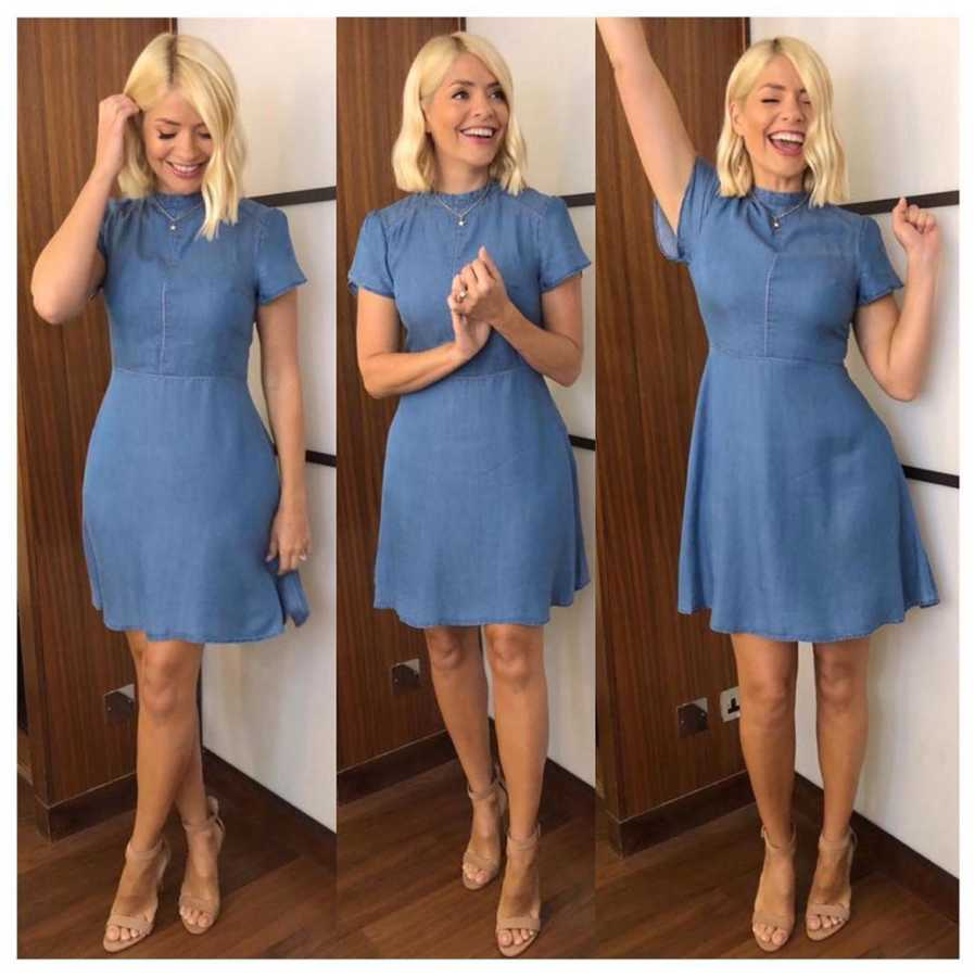 4ffaff8208de THURSDAY 11 July. It's Thursday and Holly is wearing a blue denim mini dress  from Oasis and nude sandal heels ...