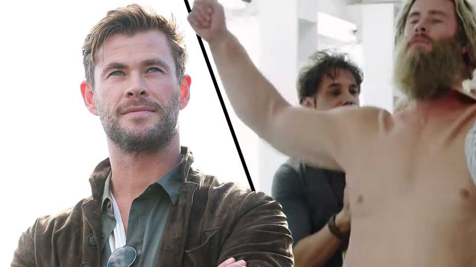 Video shows Avengers star Chris Hemsworth getting into a fat suit