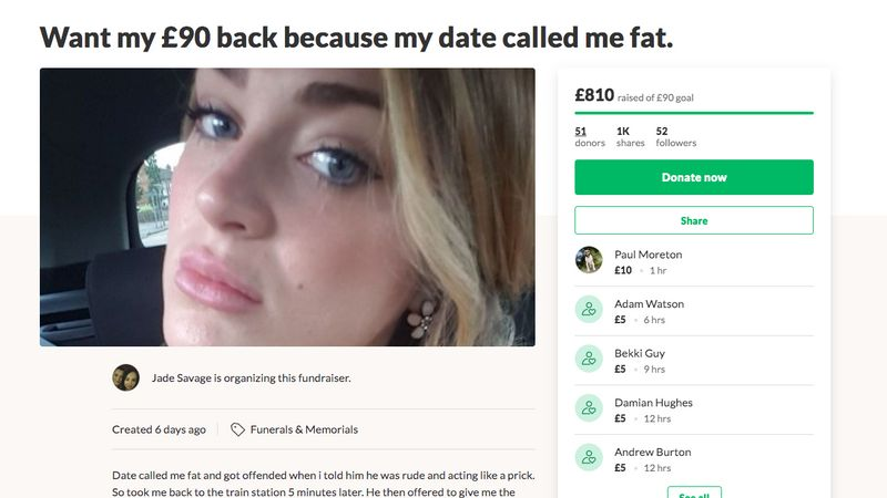 A Woman Is Crowdfunding The Money She Spent On A Date After The Man Called Her Fat