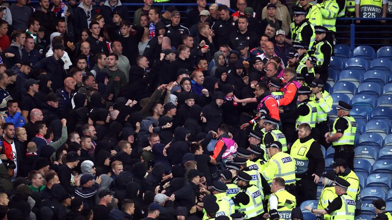 Police officers assaulted in away section at Rangers v Feyenoord match