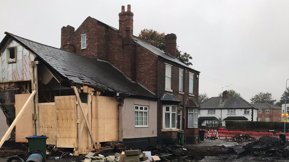 Tipton House Collapses Due To Burst Water Main