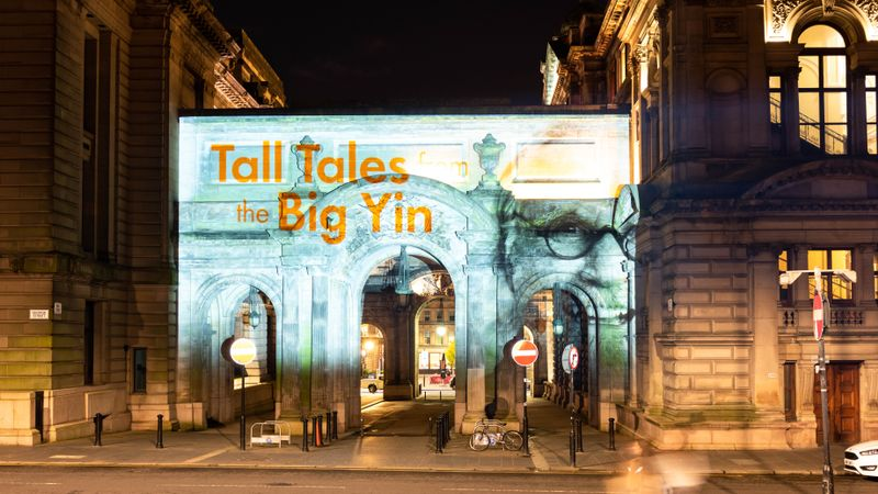 Projections of Billy Connolly light up Glasgow landmarks