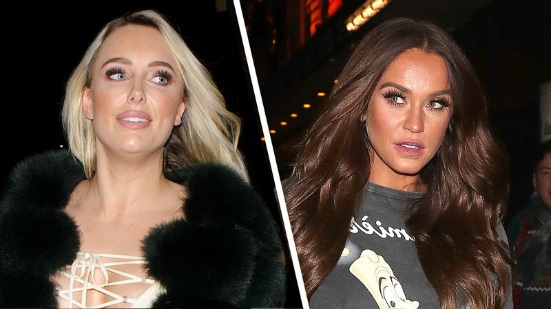 Amber Turner and Vicky Pattison arrive at part in the SAME OUTFIT