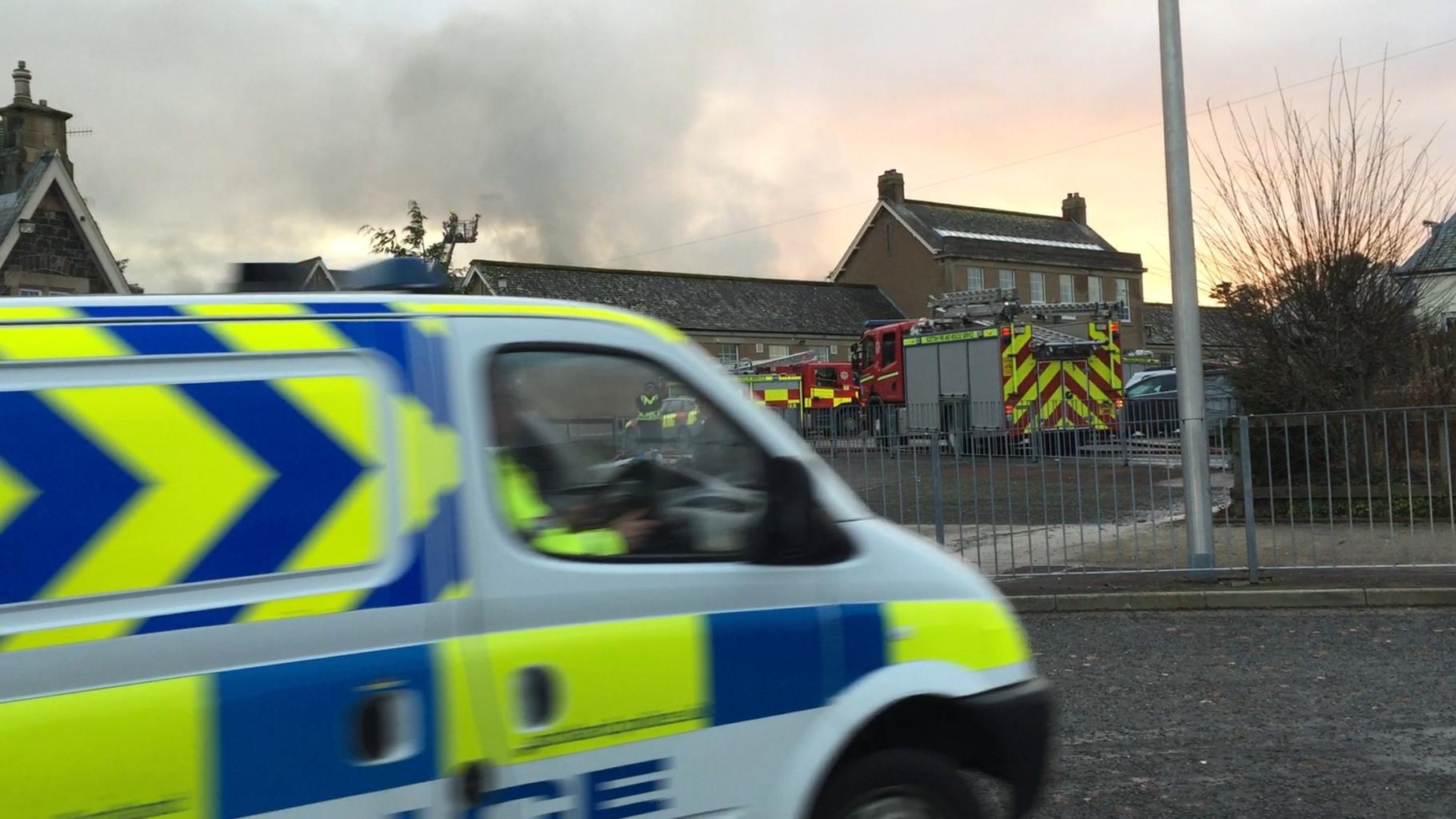 Peebles High School: Roof collapses as firefighters tackle 'severe' blaze