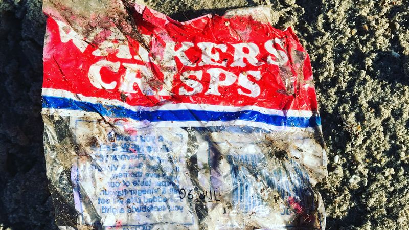 35-year-old crisp packet found during Hayling Island beach clean