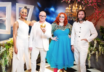 Jayde on Crazy Delicious with 'Food Gods' (l-r) Carla Hall, Heston Blumenthal and Niklas Ekstedt