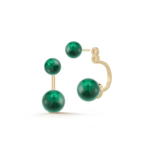 Mateo New York, 14K Gold Malachite Ear Jackets, £439