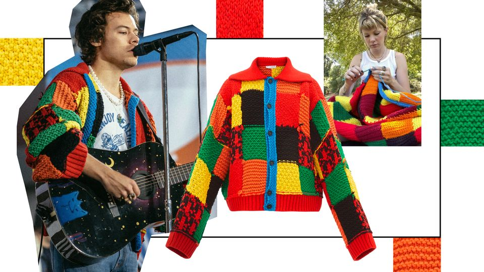 How Harry Styles Started A Viral TikTok Crocheting Trend With This JW Anderson Cardigan