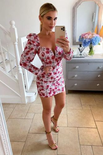 Billie Faiers Pink Rose Print Puff Sleeve Ruched Dress