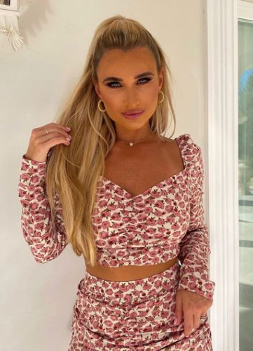 Billie Faiers Pink Floral Print Puff Sleeve Co-Ord Top