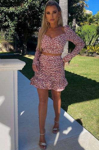 Billie Faiers Pink Floral Print Co-Ord Frill Mini Skirt