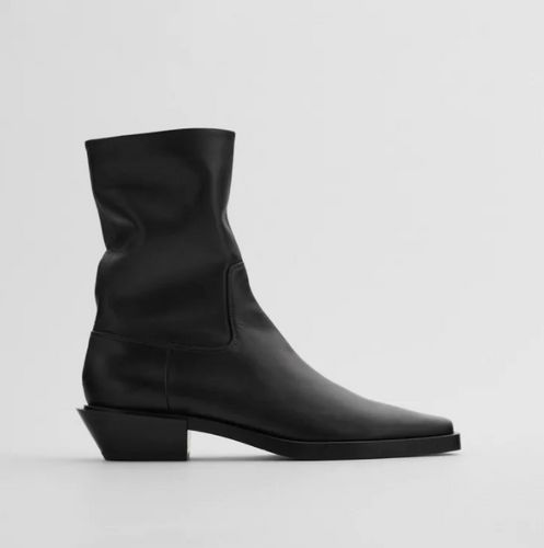 Zara, Leather Cowboy Heel Ankle Boots, £89.99