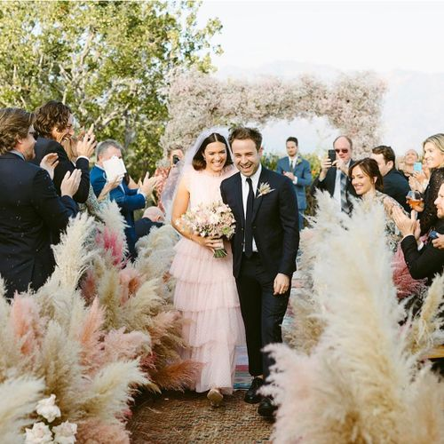 Mandy Moore wore a pink Rodarte dress for her 2018 wedding