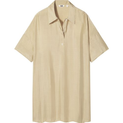 Uniqlo, Shiny Rayon Short-Sleeved Polo Tunic, £24.90