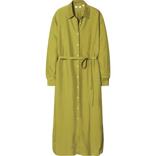 Uniqlo, Shiny Rayon Long-Sleeved Shirt Dress, £39.90