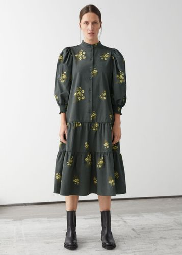 & Other Stories, Wide Tiered Puff Sleeve Midi Dress, £95