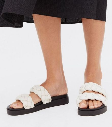 New Look Off White Leather-Look Chunky Plaited Sliders