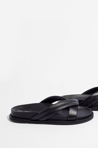 Nasty Gal Leather Crossover Strap Sliders