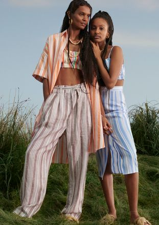 Liya Kebede wearing striped pieces from her collection with H&M