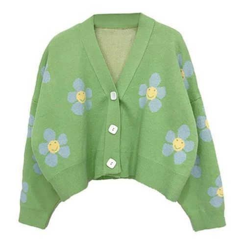 Women's Y2K Floral Knitted Cardigan