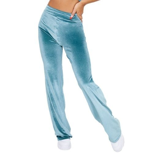 Teal Velour Wide Leg Joggers