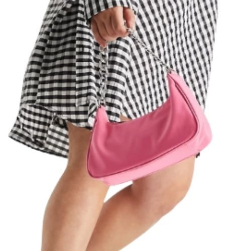 ASOS DESIGN nylon curved 90s shoulder bag with chain strap in hot pink