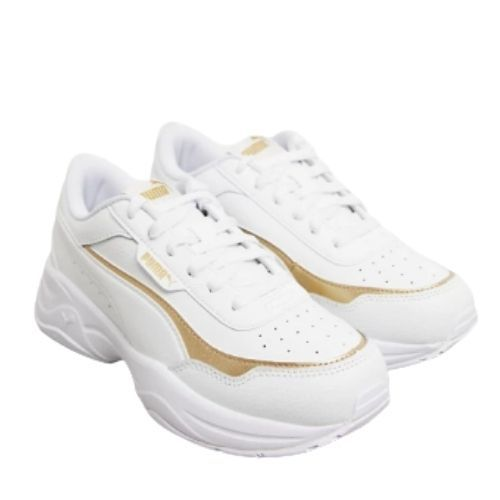 Puma Cilia Chunky Trainers in white and gold