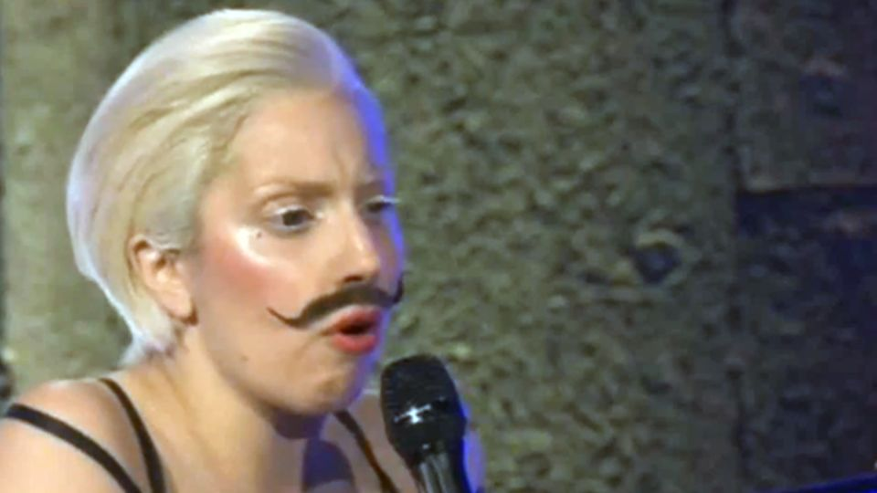Lady Gaga Wears Salvador Dali Moustache For 'Gypsy' Debut